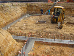 Footings poured walls block work for Best temperature to pour concrete foundation